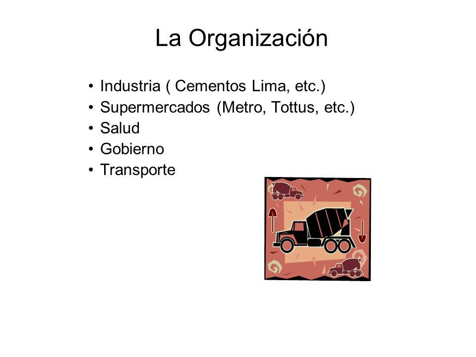 La Organización Industria ( Cementos Lima, etc.) Supermercados (Metro, Tottus, etc.) Salud Gobierno Transporte