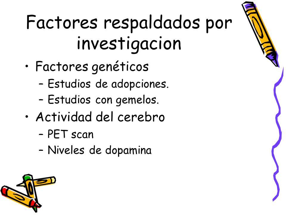 Factores respaldados por investigacion Factores genéticos –Estudios de adopciones. –Estudios con gemelos. Actividad del cerebro –PET scan –Niveles de