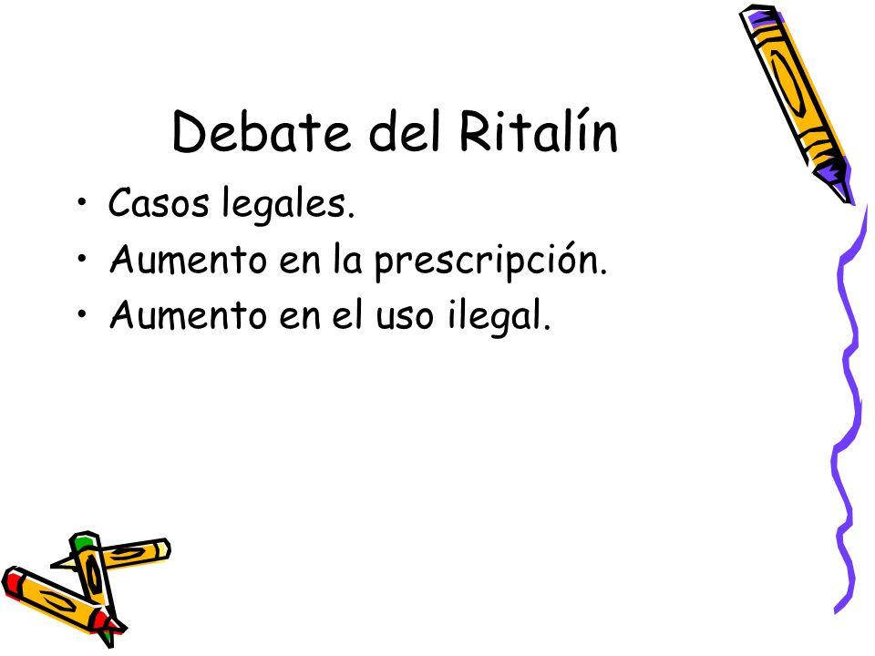 Debate del Ritalín Casos legales. Aumento en la prescripción. Aumento en el uso ilegal.