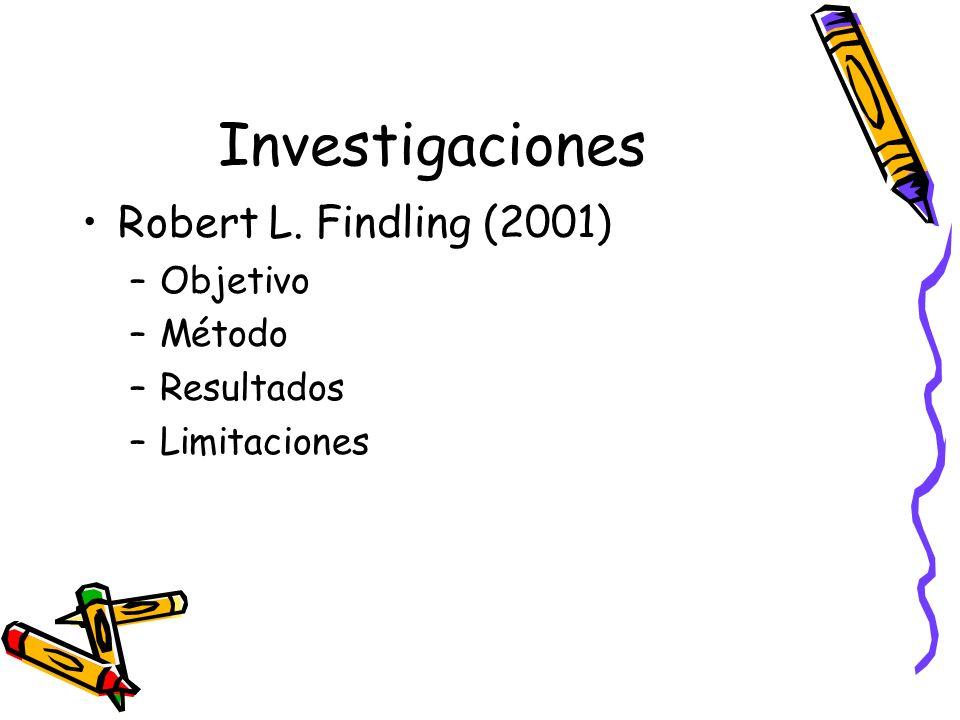 Investigaciones Robert L. Findling (2001) –Objetivo –Método –Resultados –Limitaciones