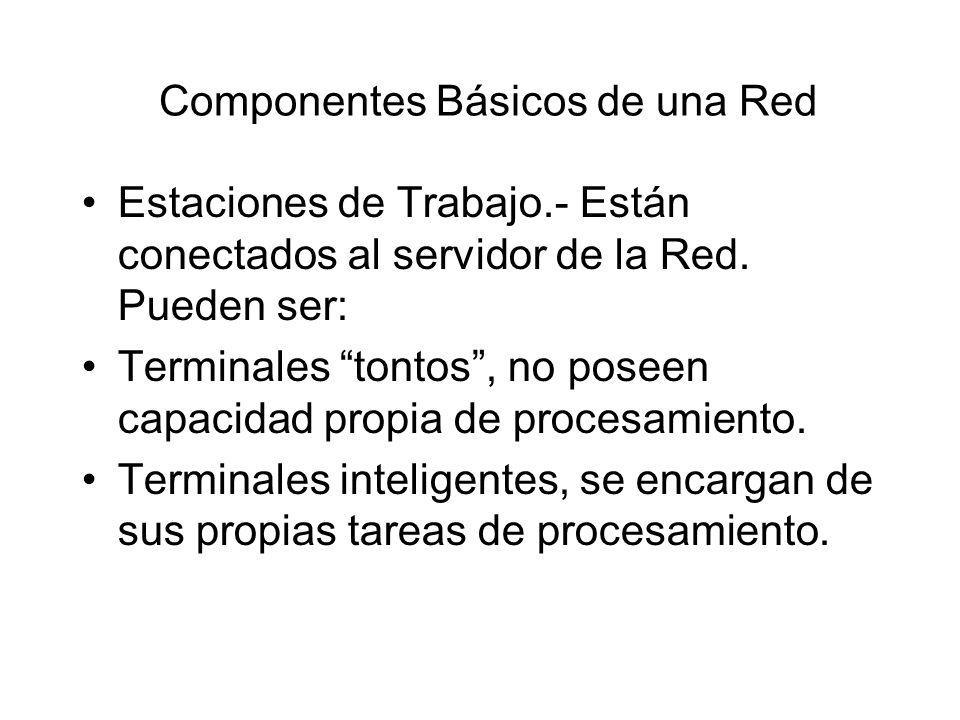 Componentes Básicos de una Red Estaciones de Trabajo.- Están conectados al servidor de la Red. Pueden ser: Terminales tontos, no poseen capacidad prop