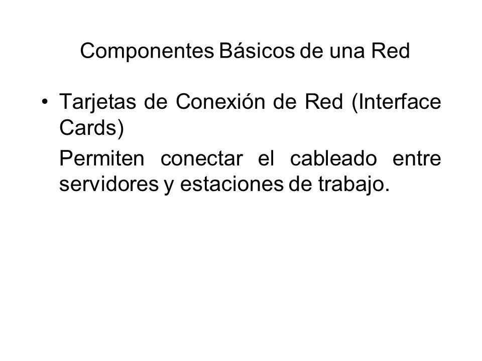Componentes Básicos de una Red Tarjetas de Conexión de Red (Interface Cards) Permiten conectar el cableado entre servidores y estaciones de trabajo.