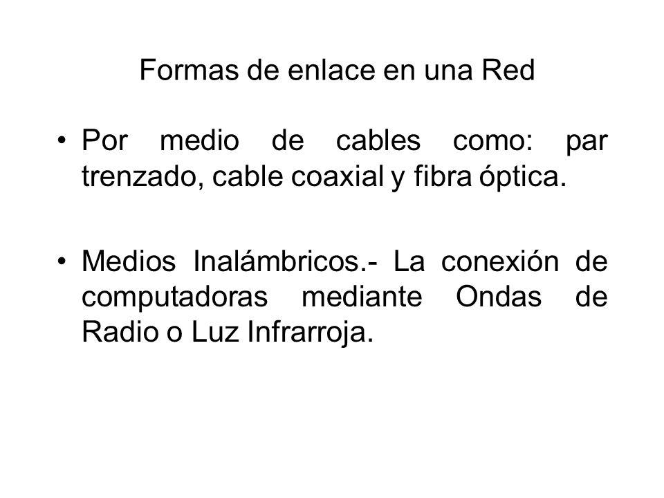Formas de enlace en una Red Por medio de cables como: par trenzado, cable coaxial y fibra óptica. Medios Inalámbricos.- La conexión de computadoras me
