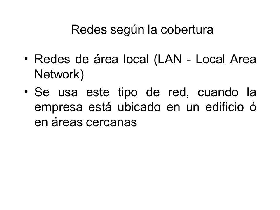 Redes según la cobertura Redes de área local (LAN - Local Area Network) Se usa este tipo de red, cuando la empresa está ubicado en un edificio ó en áreas cercanas