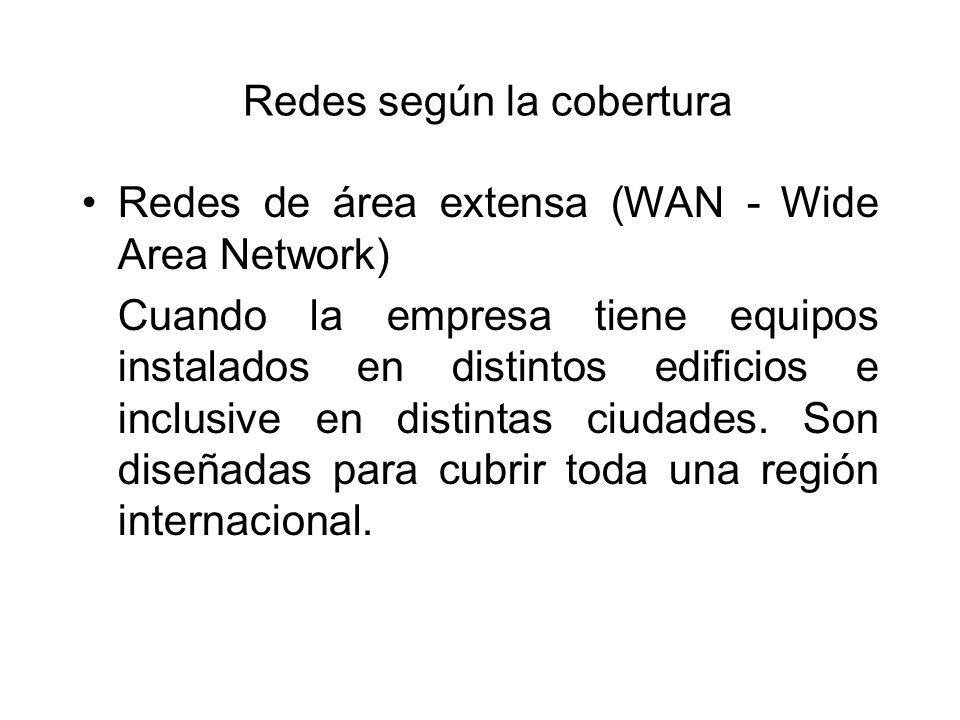 Redes según la cobertura Redes de área extensa (WAN - Wide Area Network) Cuando la empresa tiene equipos instalados en distintos edificios e inclusive en distintas ciudades.