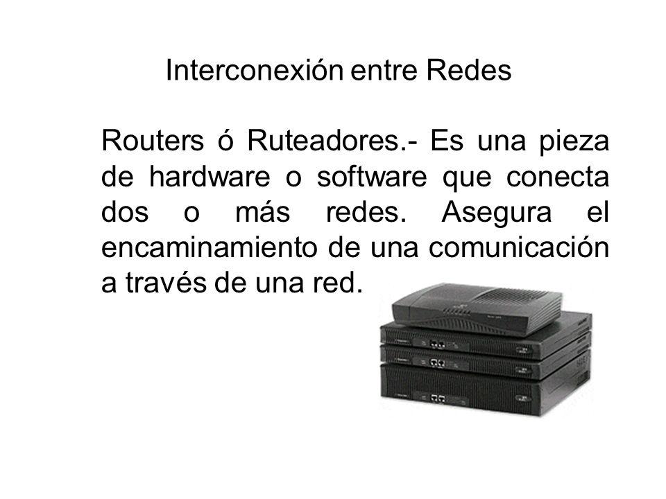 Interconexión entre Redes Routers ó Ruteadores.- Es una pieza de hardware o software que conecta dos o más redes. Asegura el encaminamiento de una com