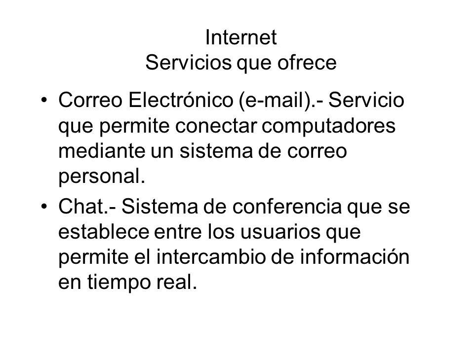 Internet Servicios que ofrece Correo Electrónico (e-mail).- Servicio que permite conectar computadores mediante un sistema de correo personal. Chat.-