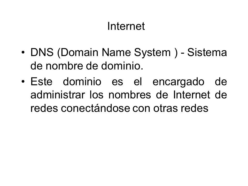 Internet DNS (Domain Name System ) - Sistema de nombre de dominio. Este dominio es el encargado de administrar los nombres de Internet de redes conect