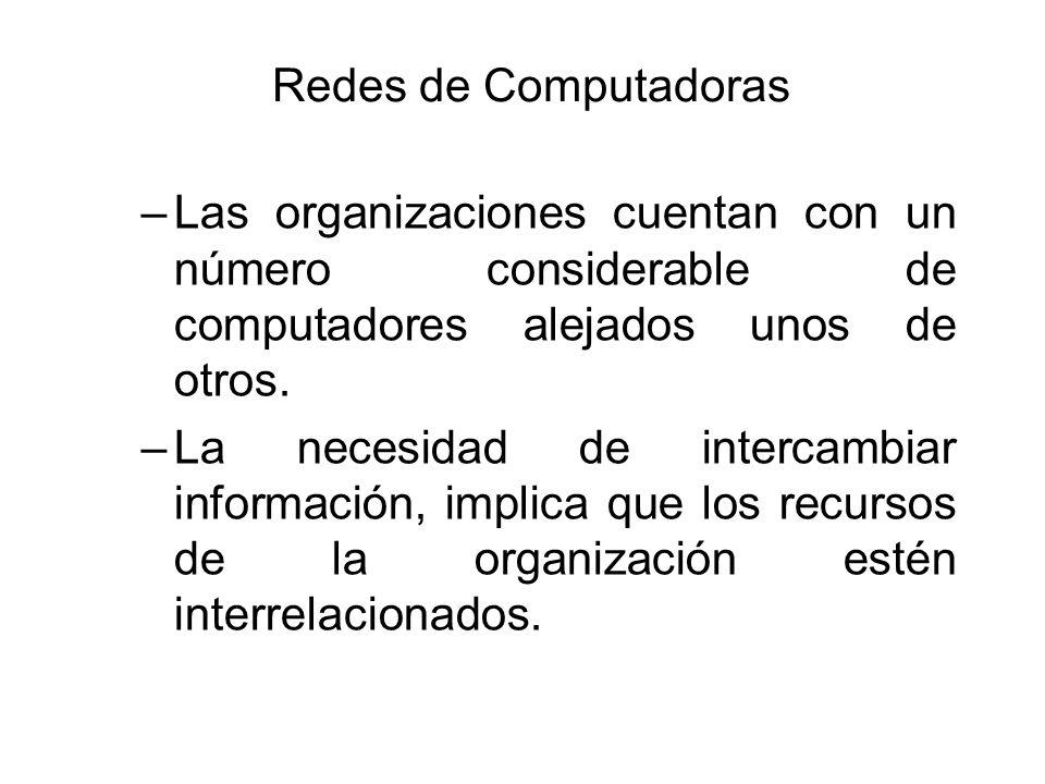 Redes de Computadoras –Las organizaciones cuentan con un número considerable de computadores alejados unos de otros. –La necesidad de intercambiar inf