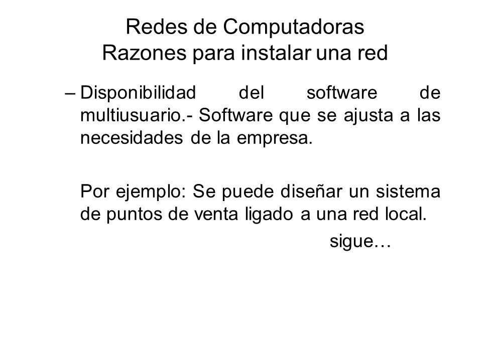 Redes de Computadoras Razones para instalar una red –Disponibilidad del software de multiusuario.- Software que se ajusta a las necesidades de la empr