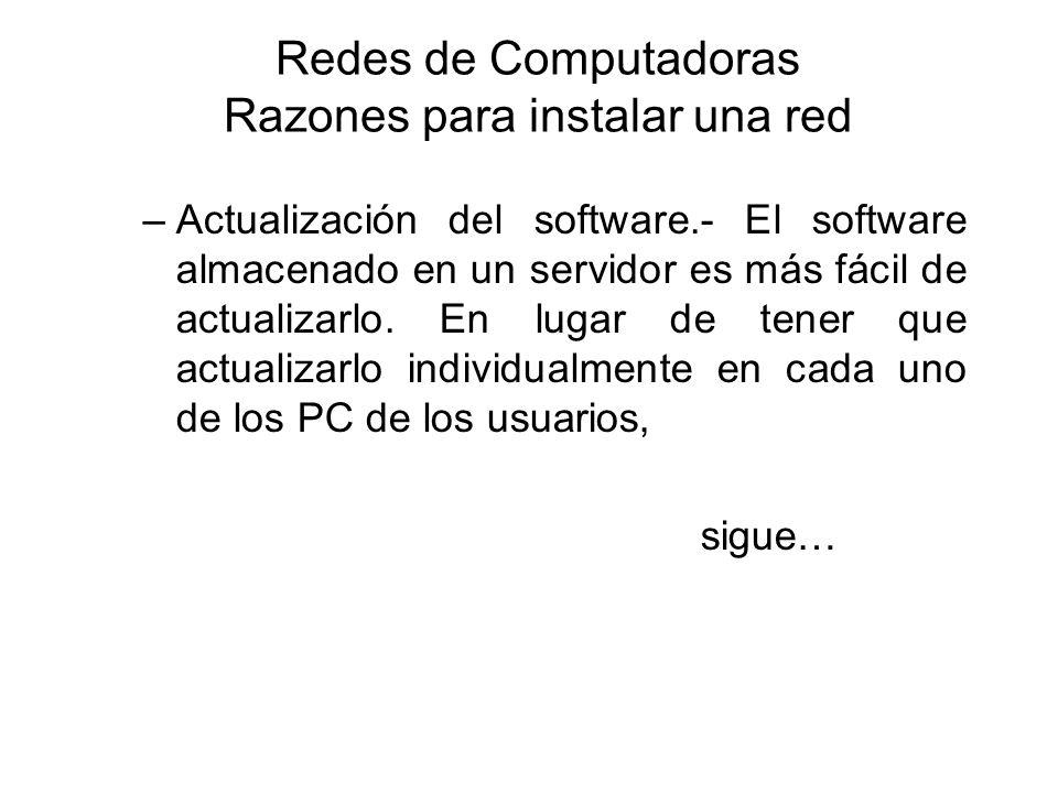 Redes de Computadoras Razones para instalar una red –Actualización del software.- El software almacenado en un servidor es más fácil de actualizarlo.