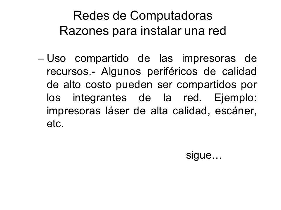 Redes de Computadoras Razones para instalar una red –Uso compartido de las impresoras de recursos.- Algunos periféricos de calidad de alto costo puede