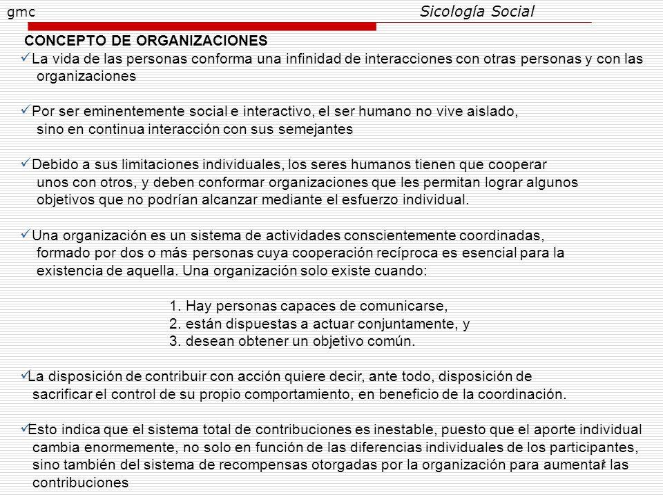 1 CONCEPTO DE ORGANIZACIONES La vida de las personas conforma una infinidad de interacciones con otras personas y con las organizaciones Por ser emine