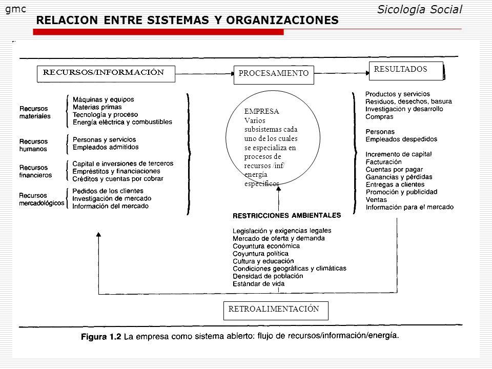 11 RELACION ENTRE SISTEMAS Y ORGANIZACIONES Sicología Social gmc EMPRESA Varios subsistemas cada uno de los cuales se especializa en procesos de recur