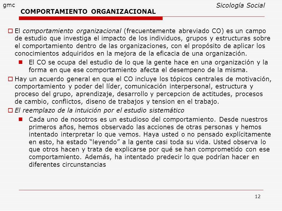 12 COMPORTAMIENTO ORGANIZACIONAL El comportamiento organizacional (frecuentemente abreviado CO) es un campo de estudio que investiga el impacto de los