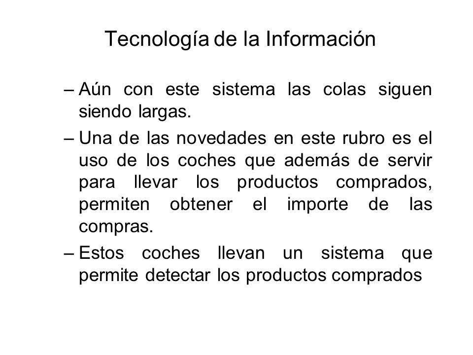 Tecnología de la Información –Aún con este sistema las colas siguen siendo largas. –Una de las novedades en este rubro es el uso de los coches que ade