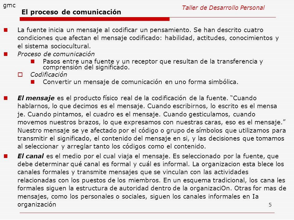 5 El proceso de comunicación La fuente inicia un mensaje al codificar un pensamiento. Se han descrito cuatro condiciones que afectan el mensaje codifi