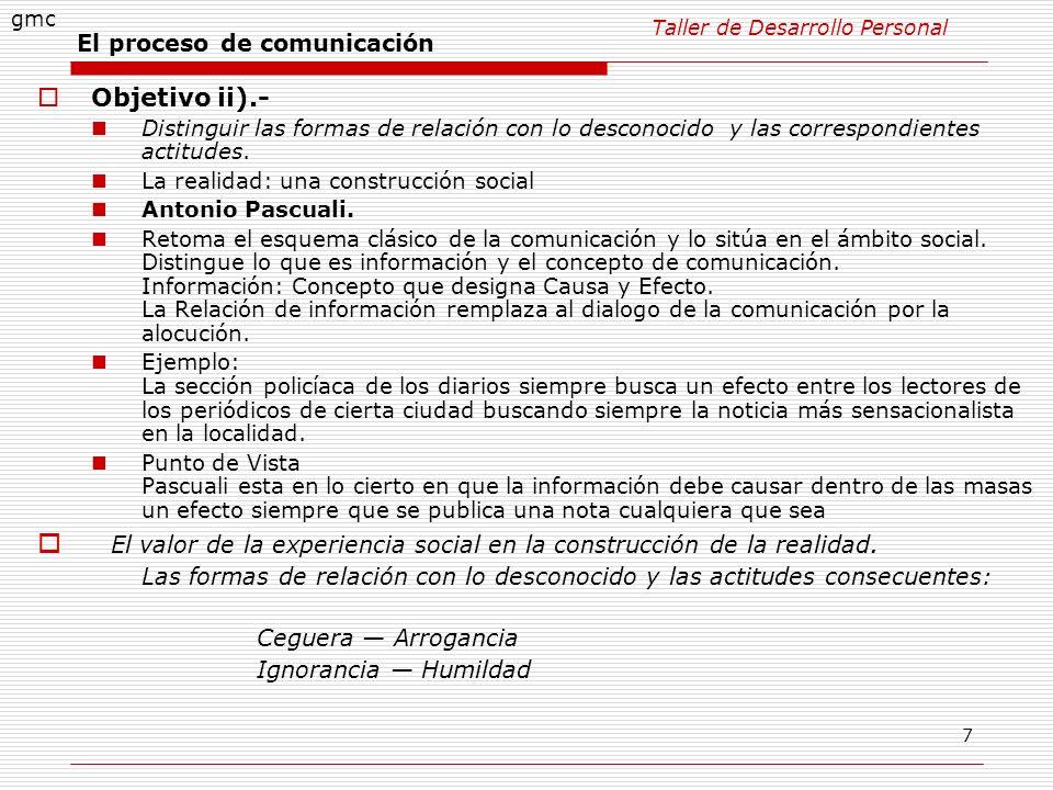 7 El proceso de comunicación Objetivo ii).- Distinguir las formas de relación con lo desconocido y las correspondientes actitudes. La realidad: una co