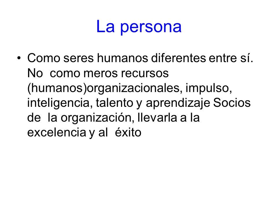 La persona Como seres humanos diferentes entre sí. No como meros recursos (humanos)organizacionales, impulso, inteligencia, talento y aprendizaje Soci