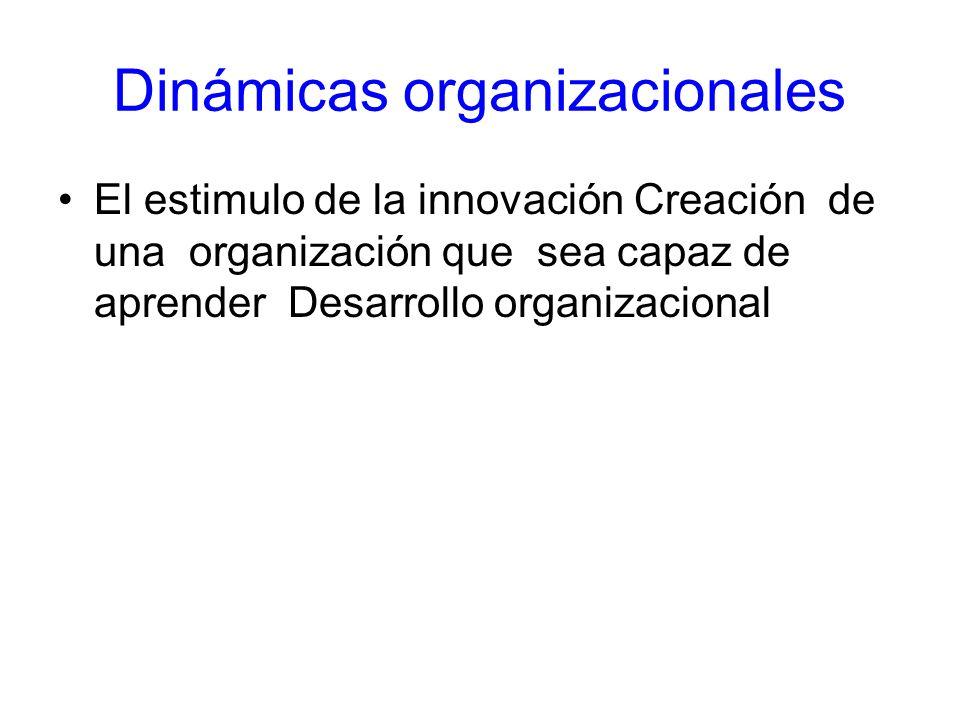 Dinámicas organizacionales El estimulo de la innovación Creación de una organización que sea capaz de aprender Desarrollo organizacional