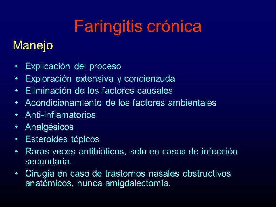 Faringitis crónica Explicación del proceso Exploración extensiva y concienzuda Eliminación de los factores causales Acondicionamiento de los factores