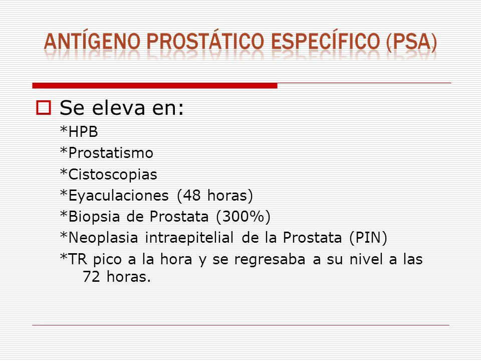 Se eleva en: *HPB *Prostatismo *Cistoscopias *Eyaculaciones (48 horas) *Biopsia de Prostata (300%) *Neoplasia intraepitelial de la Prostata (PIN) *TR