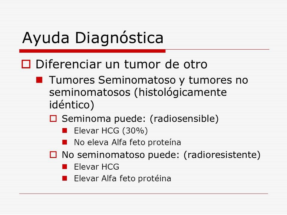 Ayuda Diagnóstica Diferenciar un tumor de otro Tumores Seminomatoso y tumores no seminomatosos (histológicamente idéntico) Seminoma puede: (radiosensi