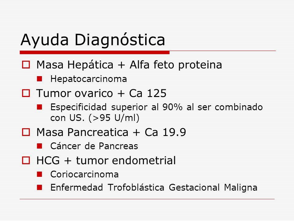 Ayuda Diagnóstica Masa Hepática + Alfa feto proteina Hepatocarcinoma Tumor ovarico + Ca 125 Especificidad superior al 90% al ser combinado con US. (>9