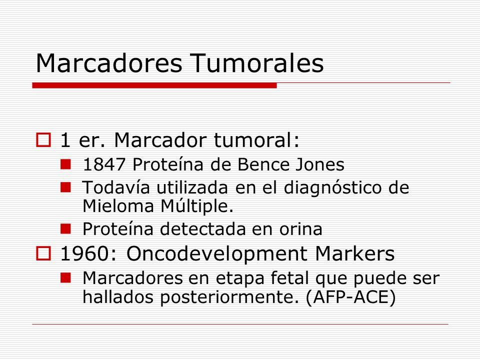 Marcadores Tumorales 1 er. Marcador tumoral: 1847 Proteína de Bence Jones Todavía utilizada en el diagnóstico de Mieloma Múltiple. Proteína detectada