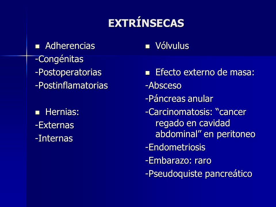 EXTRÍNSECAS Adherencias Adherencias-Congénitas-Postoperatorias-Postinflamatorias Hernias: Hernias:-Externas-Internas Vólvulus Vólvulus Efecto externo