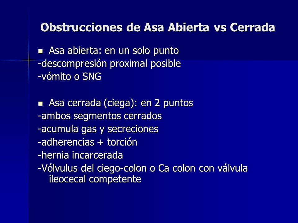 Obstrucciones de Asa Abierta vs Cerrada Asa abierta: en un solo punto Asa abierta: en un solo punto -descompresión proximal posible -vómito o SNG Asa