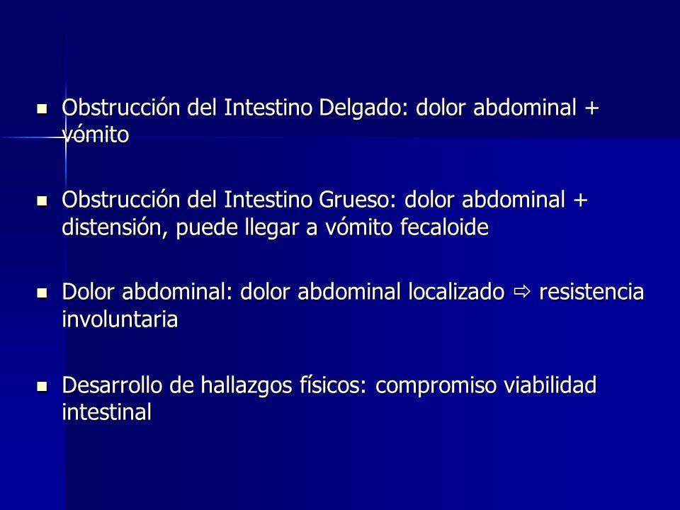 Obstrucción del Intestino Delgado: dolor abdominal + vómito Obstrucción del Intestino Delgado: dolor abdominal + vómito Obstrucción del Intestino Grue