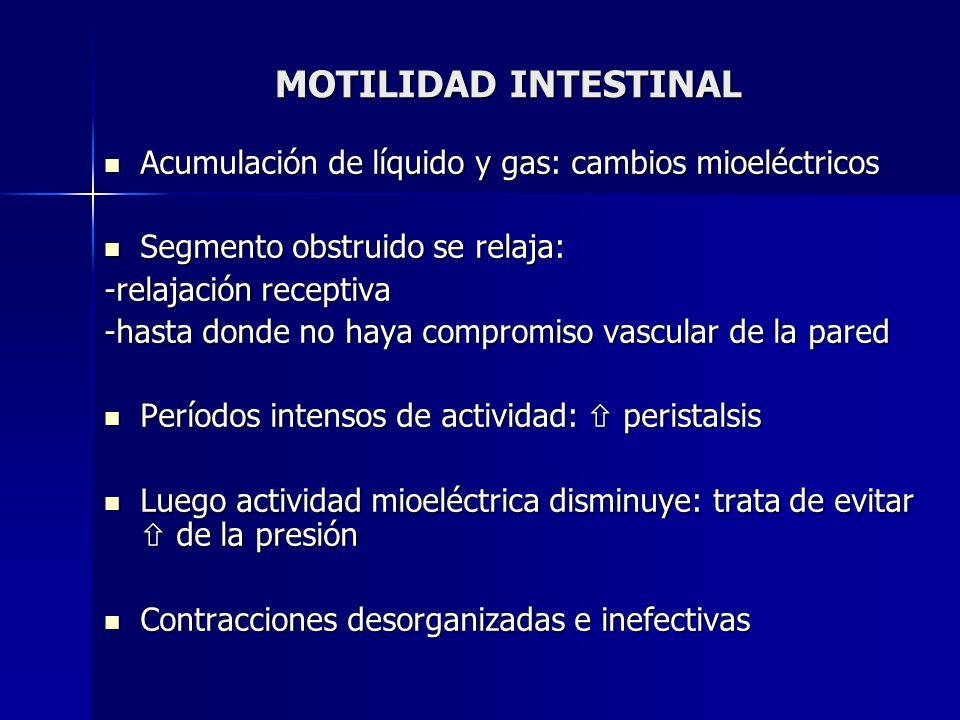MOTILIDAD INTESTINAL Acumulación de líquido y gas: cambios mioeléctricos Acumulación de líquido y gas: cambios mioeléctricos Segmento obstruido se rel
