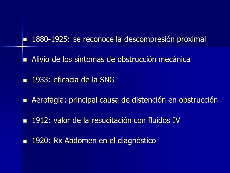 1880-1925: se reconoce la descompresión proximal 1880-1925: se reconoce la descompresión proximal Alivio de los síntomas de obstrucción mecánica Alivi