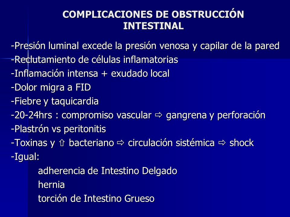 COMPLICACIONES DE OBSTRUCCIÓN INTESTINAL -Presión luminal excede la presión venosa y capilar de la pared -Reclutamiento de células inflamatorias -Infl