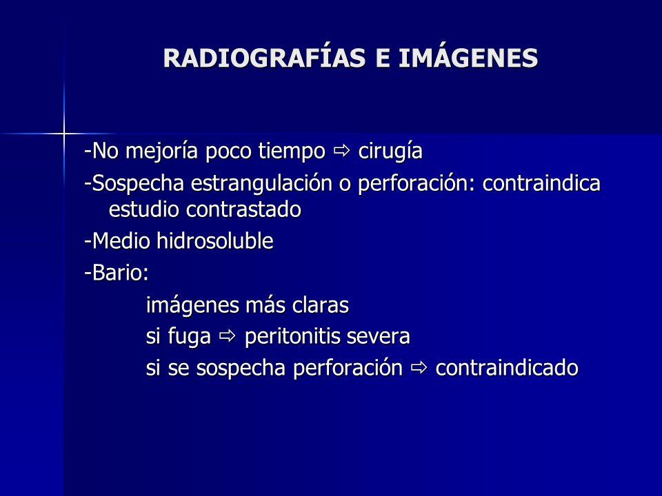 RADIOGRAFÍAS E IMÁGENES -No mejoría poco tiempo cirugía -Sospecha estrangulación o perforación: contraindica estudio contrastado -Medio hidrosoluble -