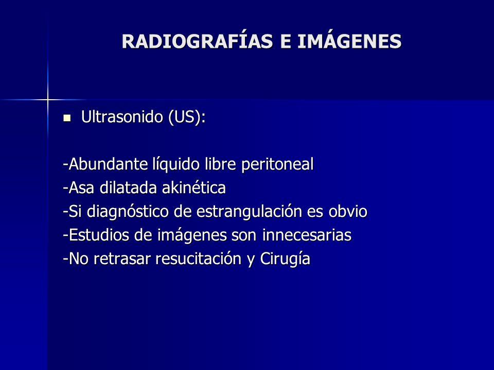 RADIOGRAFÍAS E IMÁGENES Ultrasonido (US): Ultrasonido (US): -Abundante líquido libre peritoneal -Asa dilatada akinética -Si diagnóstico de estrangulac