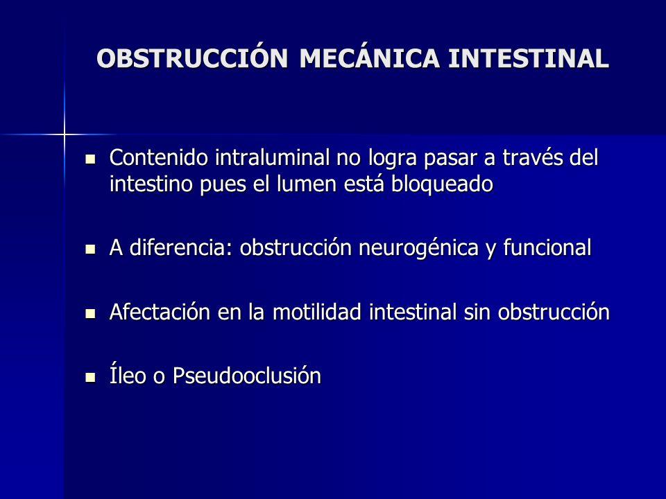 OBSTRUCCIÓN MECÁNICA INTESTINAL Contenido intraluminal no logra pasar a través del intestino pues el lumen está bloqueado Contenido intraluminal no lo