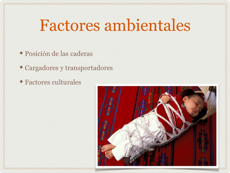 Factores ambientales Posición de las caderas Cargadores y transportadores Factores culturales