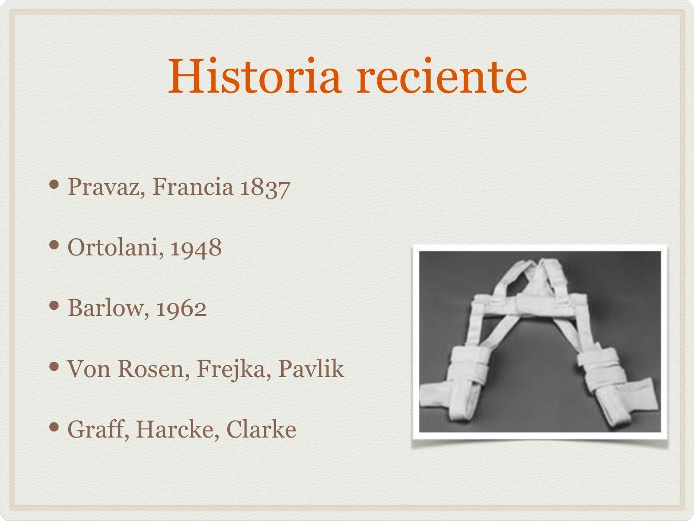 Historia reciente Pravaz, Francia 1837 Ortolani, 1948 Barlow, 1962 Von Rosen, Frejka, Pavlik Graff, Harcke, Clarke