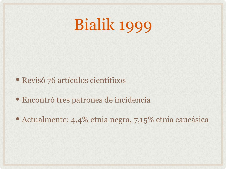 Bialik 1999 Revisó 76 artículos científicos Encontró tres patrones de incidencia Actualmente: 4,4% etnia negra, 7,15% etnia caucásica