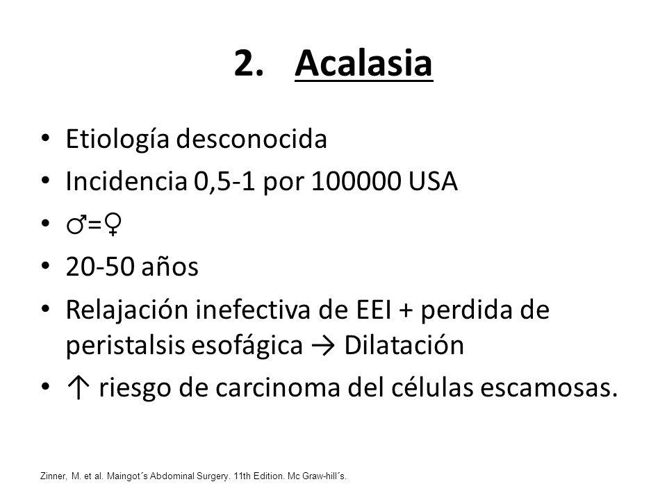 2.Acalasia Etiología desconocida Incidencia 0,5-1 por 100000 USA = 20-50 años Relajación inefectiva de EEI + perdida de peristalsis esofágica Dilataci
