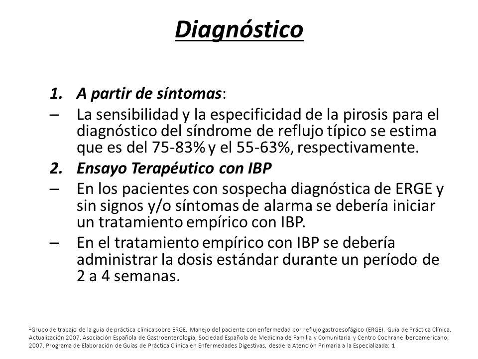 Diagnóstico 1.A partir de síntomas: – La sensibilidad y la especificidad de la pirosis para el diagnóstico del síndrome de reflujo típico se estima qu