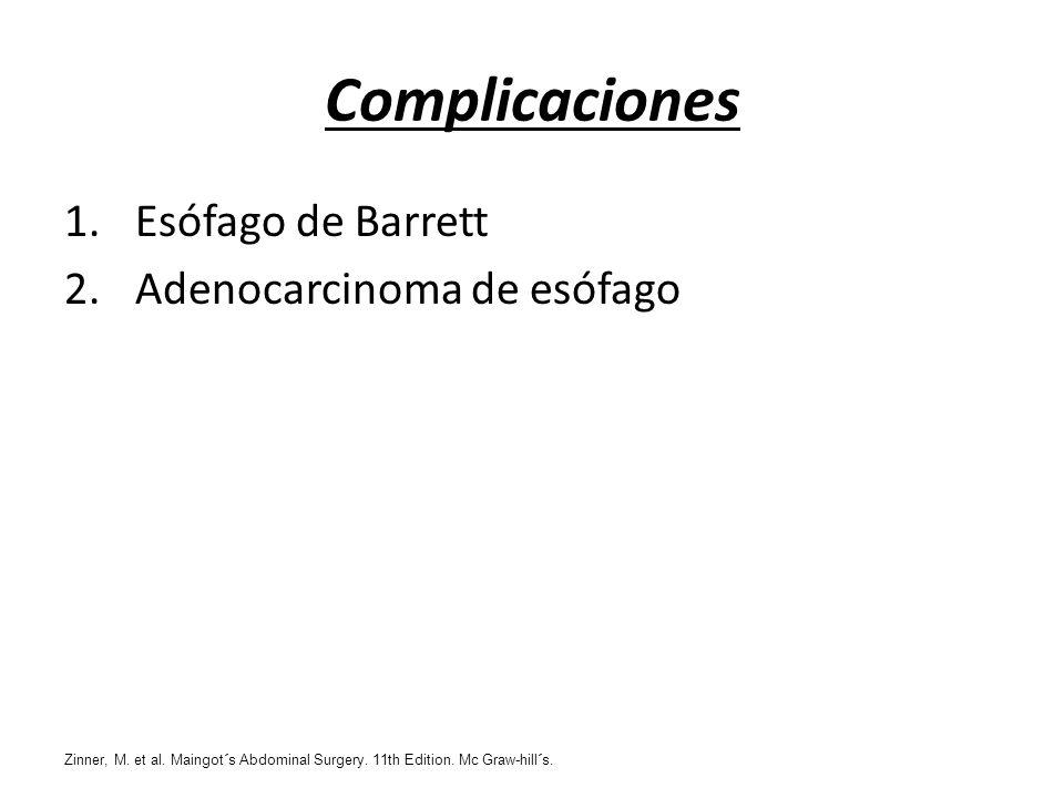 Complicaciones 1.Esófago de Barrett 2.Adenocarcinoma de esófago Zinner, M. et al. Maingot´s Abdominal Surgery. 11th Edition. Mc Graw-hill´s.
