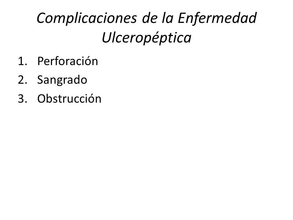 Complicaciones de la Enfermedad Ulceropéptica 1.Perforación 2.Sangrado 3.Obstrucción
