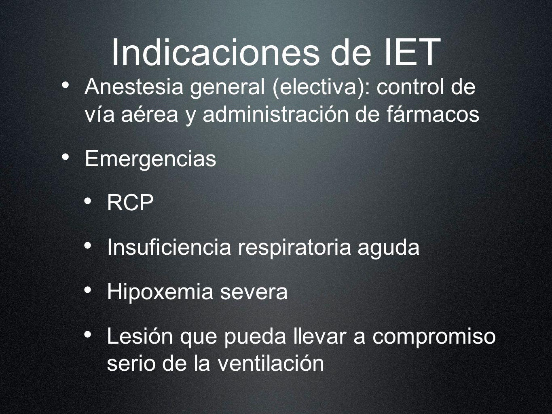 Indicaciones de IET Anestesia general (electiva): control de vía aérea y administración de fármacos Emergencias RCP Insuficiencia respiratoria aguda H