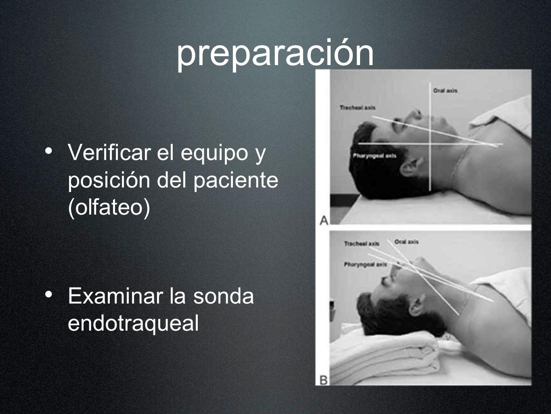 preparación Verificar el equipo y posición del paciente (olfateo) Examinar la sonda endotraqueal