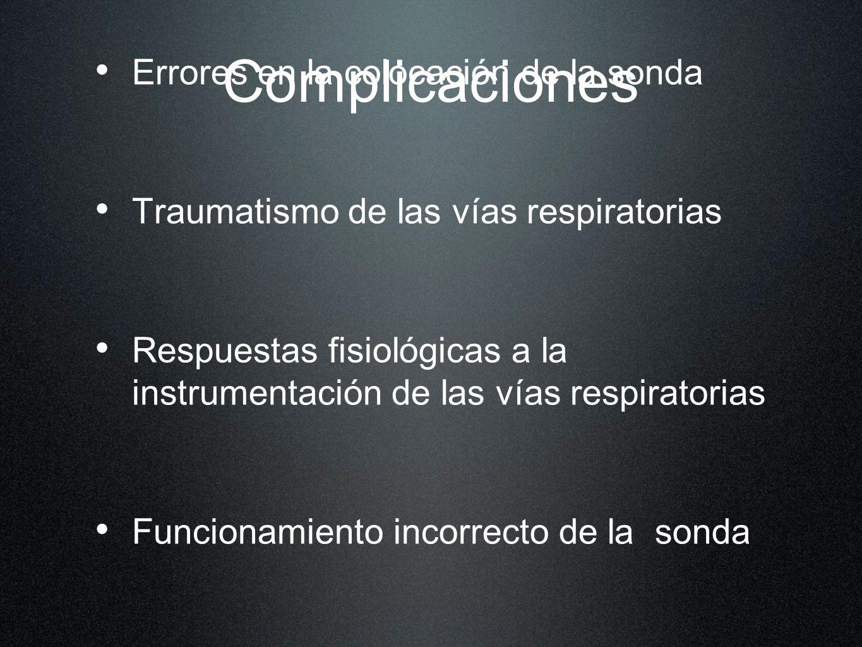 Complicaciones Errores en la colocación de la sonda Traumatismo de las vías respiratorias Respuestas fisiológicas a la instrumentación de las vías res
