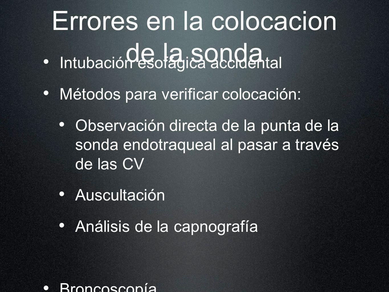 Errores en la colocacion de la sonda Intubación esofágica accidental Métodos para verificar colocación: Observación directa de la punta de la sonda en