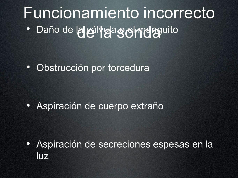 Funcionamiento incorrecto de la sonda Daño de la válvula o el manguito Obstrucción por torcedura Aspiración de cuerpo extraño Aspiración de secrecione